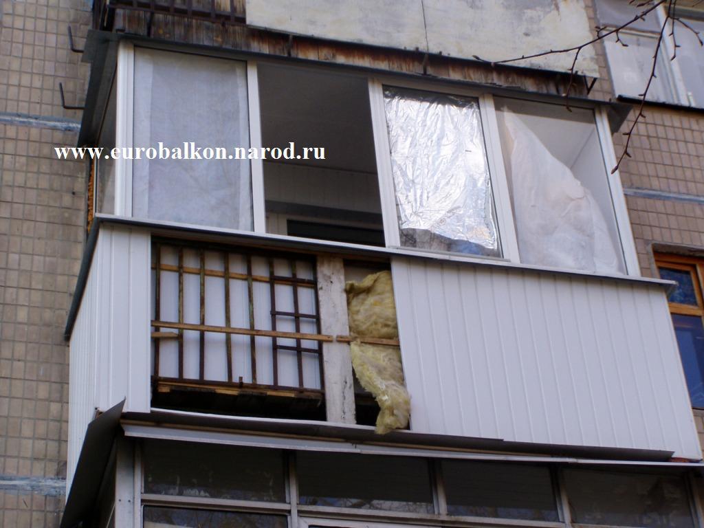 Наружная отделка балкона профлистом..