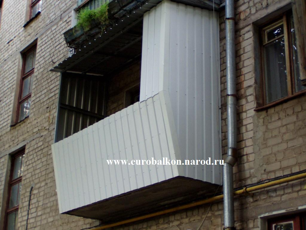 Остекление балкона с монтажом крыши на металлоконструкции..